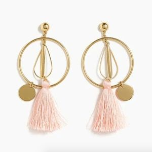 J. Crew Abstract Tassel Hoop Earrings Gold Pink
